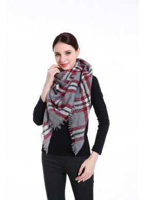 Grey Triangle Plaid Scarf