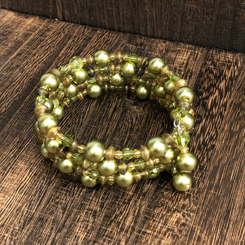 Fashion Green Stone Wrap Bracelet