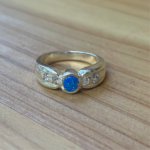 Sterling Silver Blue Created Opal Ring