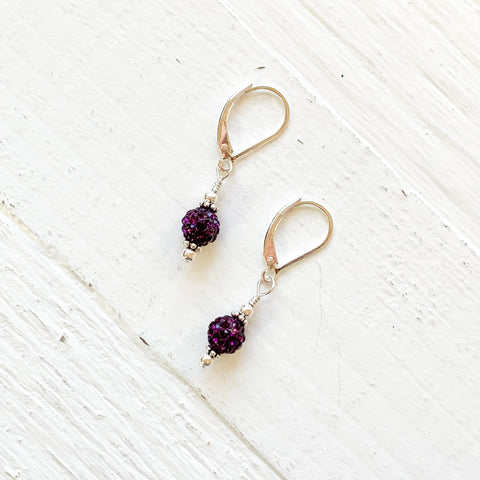 Sterling Silver February Sparkle Ball Earrings