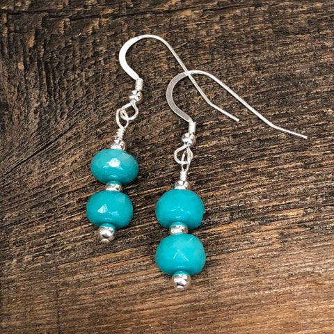 Sterling Silver Blue Jade Earrings