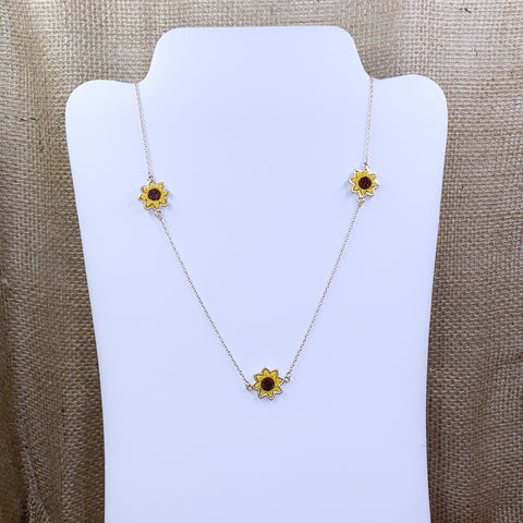 Gold-Tone Long Sunflower Fashion Necklace