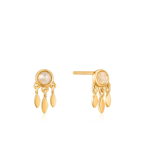 Midnight Fringe Gold Studs