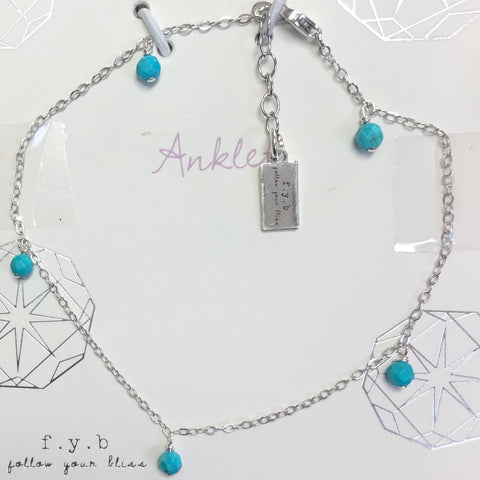 Serena Shaker Turquoise Sterling Silver Anklet