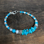 Sterling Silver Turquoise & Freshwater Pearl Bracelet