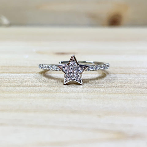 Sterling Silver Adjustable Pave CZ Star Ring