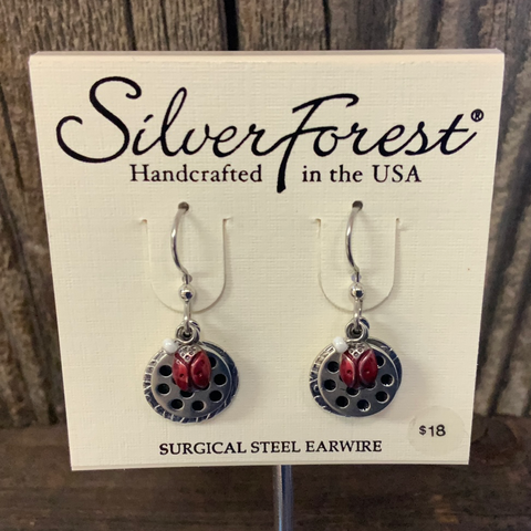 Ladybug Silver Forest Earrings