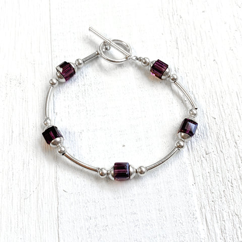 Sterling Silver February Cube Toggle Bracelet