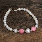 Sterling Silver Freshwater Pearl & Pink Stone Bracelet