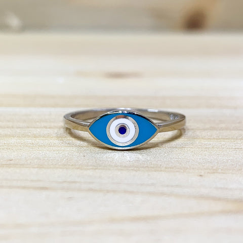 Sterling Silver Blue Evil Eye Ring