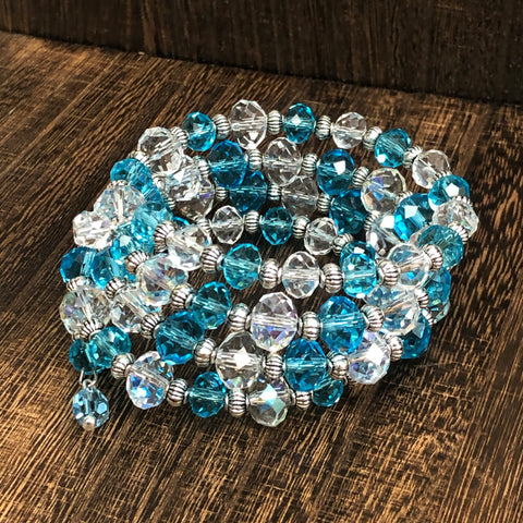 Fashion Blue and Clear Wrap Bracelet