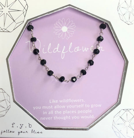 Wildflower Silver Black Stone Choker