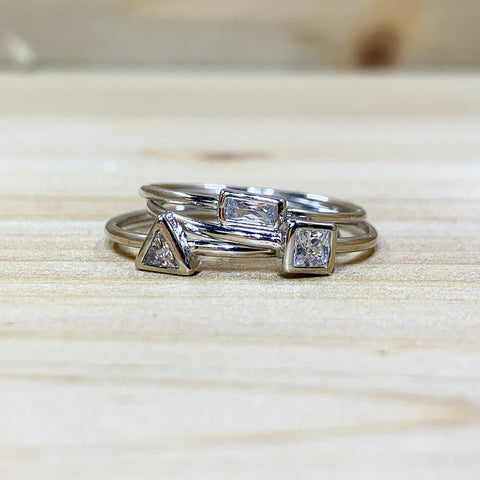 Sterling Silver CZ Shapes Ring Set