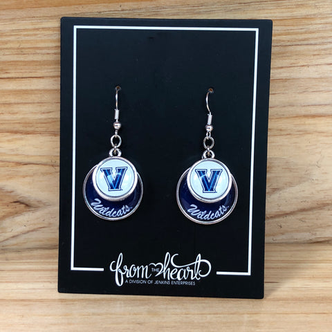 Villanova Wildcats Stacked Disk Earrings