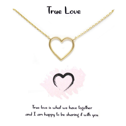 Tell Your Story: True Love Heart Pendant Simple Chain Short Necklace