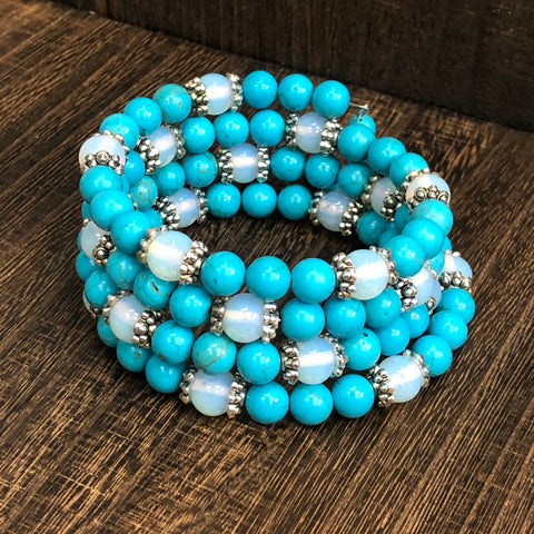 Fashion Turquoise and Moonstone Wrap Bracelet