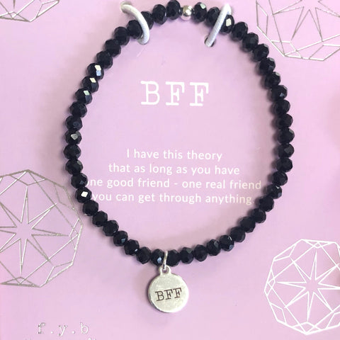 BFF Black Crystal Stretch Bracelet
