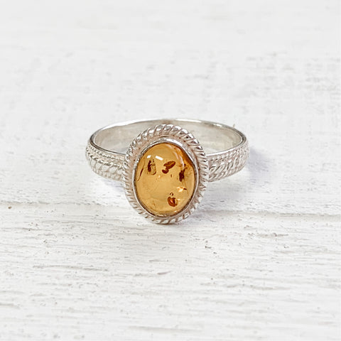 Sterling Silver Oval Amber Ring