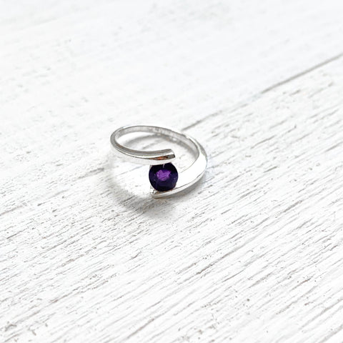 Sterling Silver February Round Ring