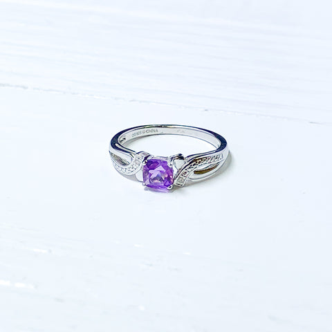 Sterling Silver Amethyst & Diamond February Ring