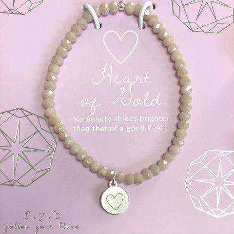 Heart of Gold Mystic Taupe Crystal Stretch Bracelet