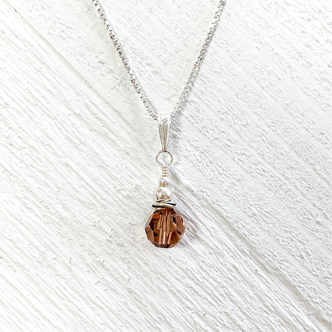 Sterling Silver Amber Crystal Necklace