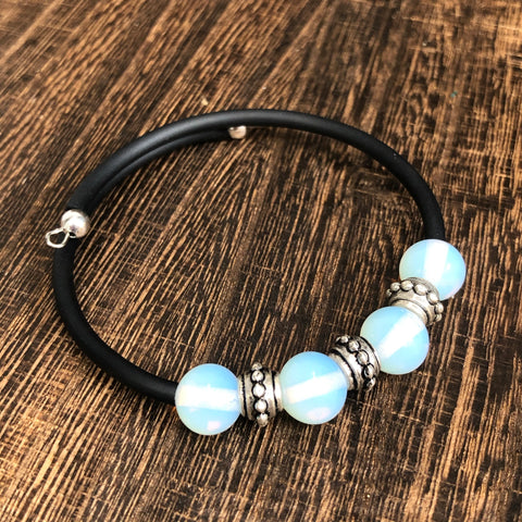 Fashion Moonstone Rubber Wrap Bracelet