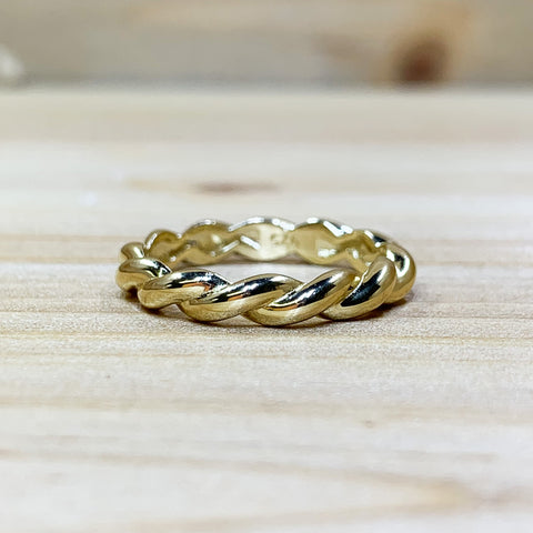 Gold Tone Sterling Silver Rope Ring