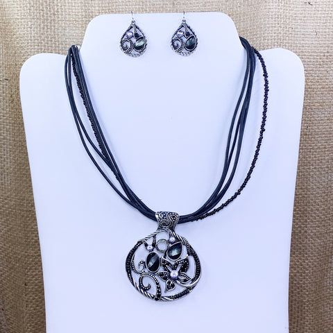 Black Corded Floral Pendant Set