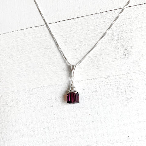 Sterling Silver February Cube Necklace