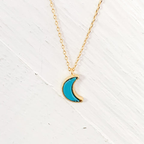 Gold Tone Turquoise Moon Necklace