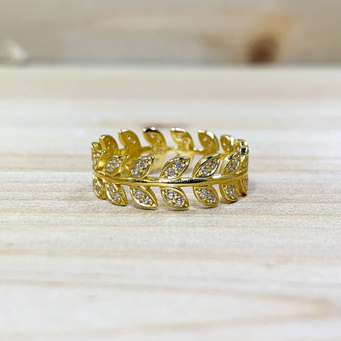 Gold Tone Sterling Silver Shimmering Leaves Ring