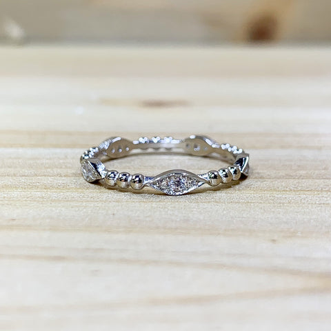 Sterling Silver Marquise Beaded Ring