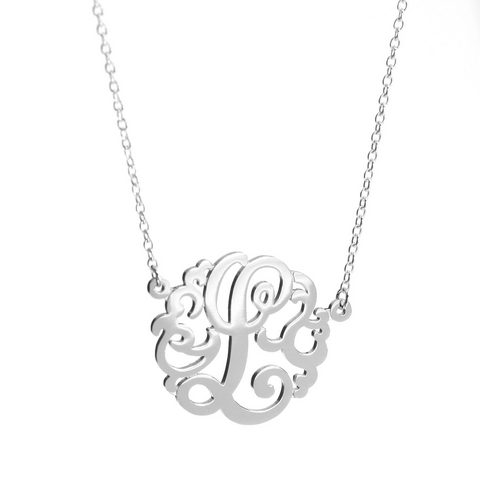 Single Monogram Necklace - 27mm with Upgraded Chain