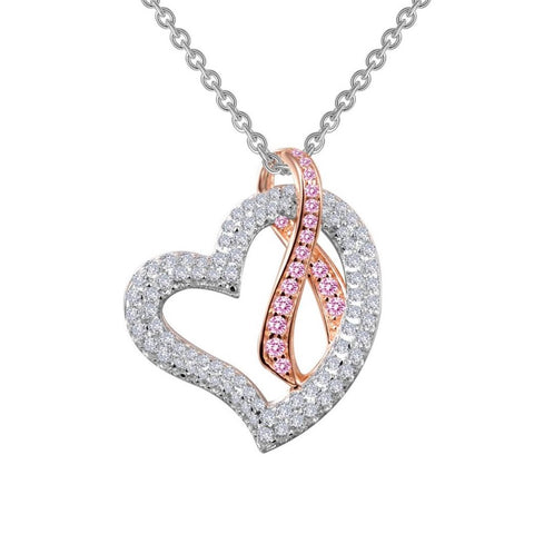 Heart with Pink Ribbon Necklace