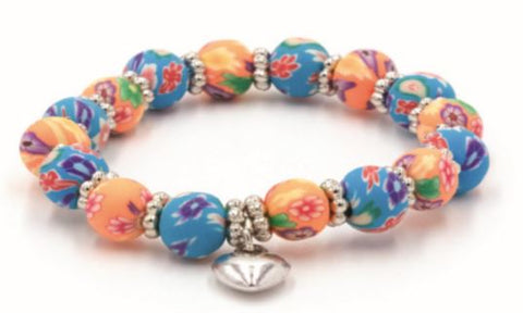 Kids Clay Bead Bracelet - Blue & Peach Floral