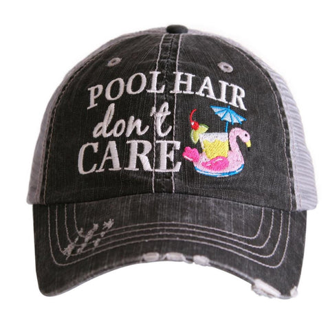 Pool Hair Don't Care (Swan Float) Trucker Hat