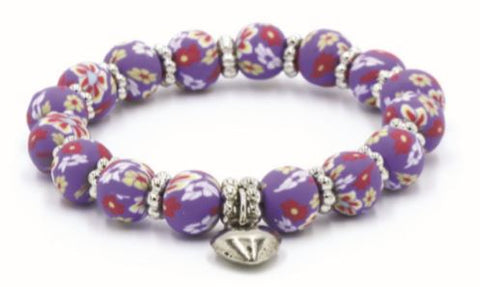 Kids Clay Bead Bracelet - Purple Floral
