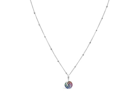 Charm & Chain Necklace Rainbow Disk