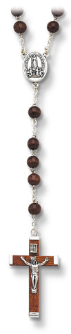Wood Rosary with Fatima Center