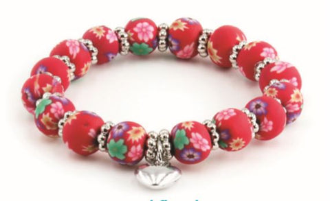 Kids Clay Bead Bracelet - Red Floral