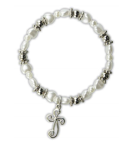 White Heart Bracelet with Cross Charm