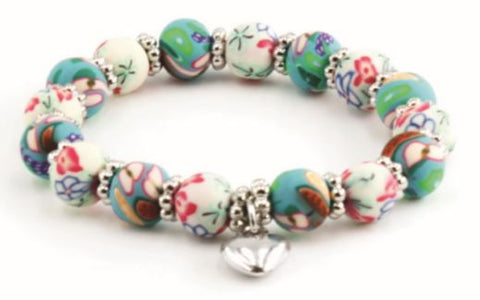 Kids Clay Bead Bracelet - Teal & White Floral