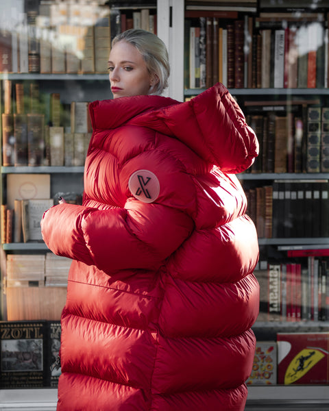 XUMU Bess, One Size Giant Puffer Jacket, Extra Long, Matte interior with special doodle pattern
