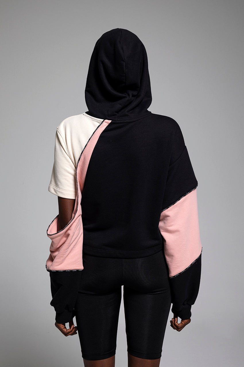 Anachrony, a crop hoodie with sleeve vent