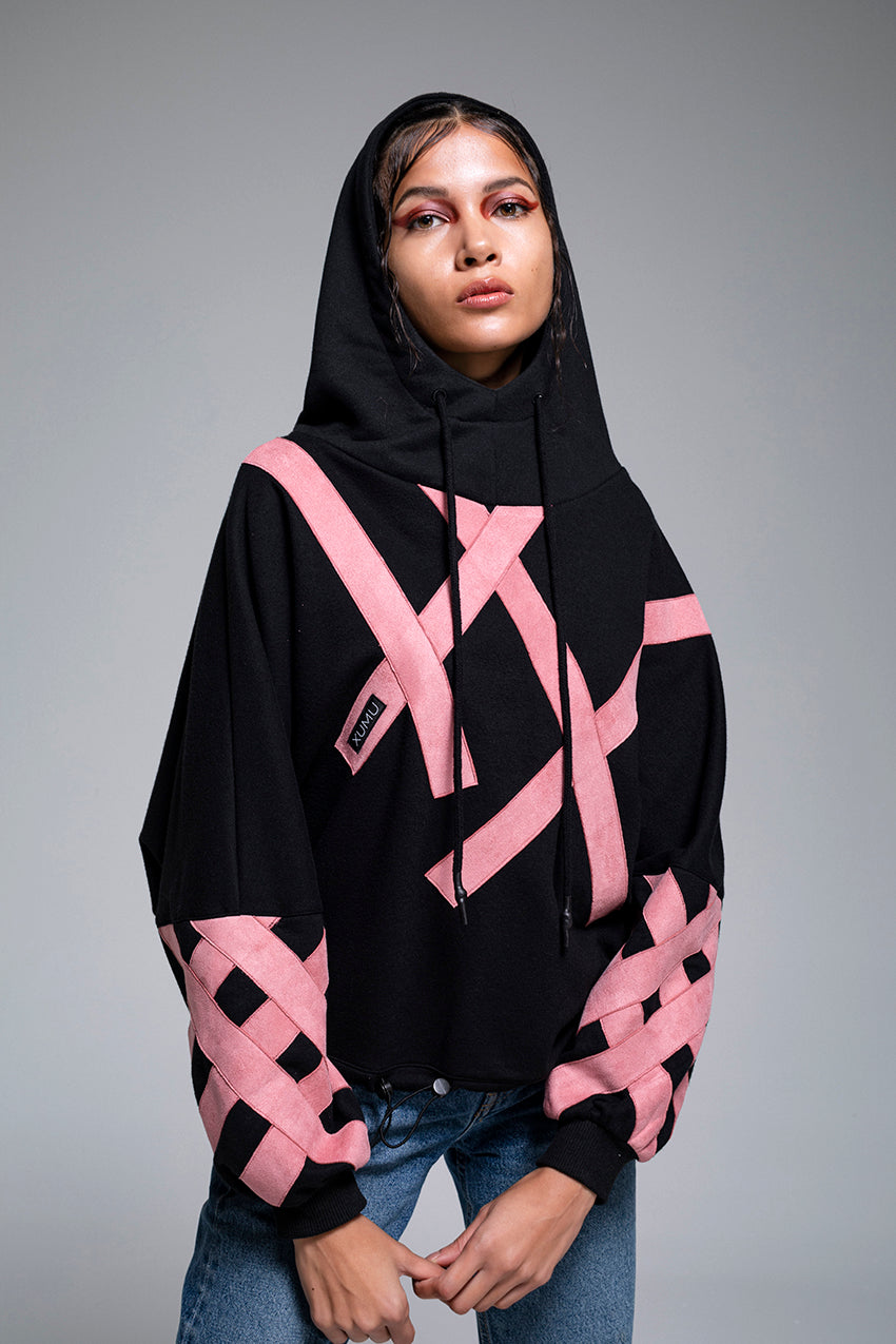 Arrow, an oversize cotton hoodie with pale pink stripes