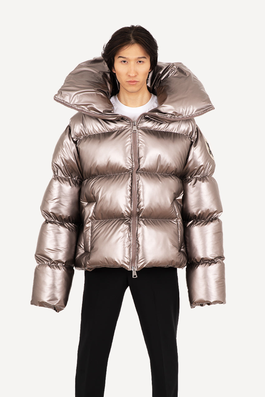 Bronze giant puffer coat with a detachable backpack