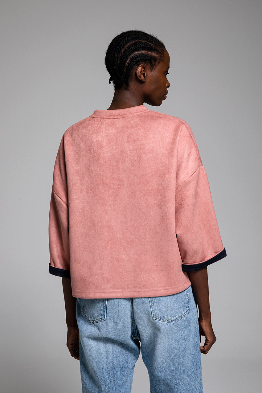 Circadian, a suede t-shirt in pale pink