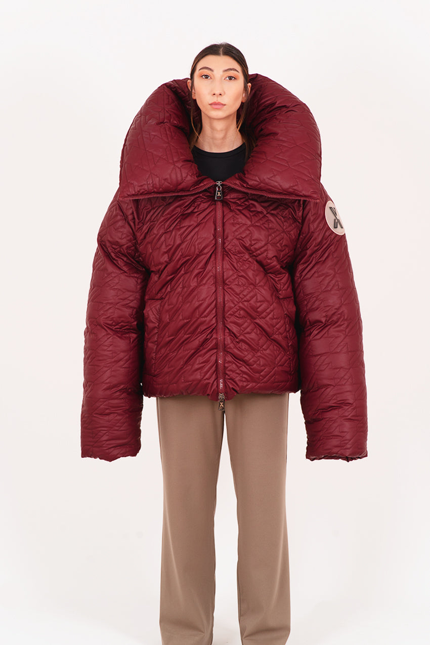 Claret red quilted giant puffer coat