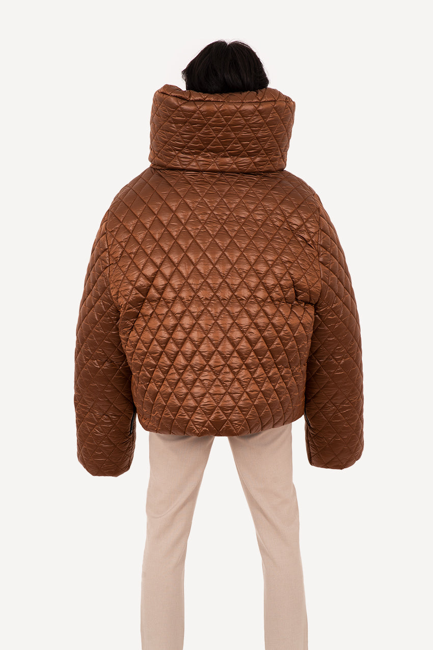 Copper quilted giant puffer coat